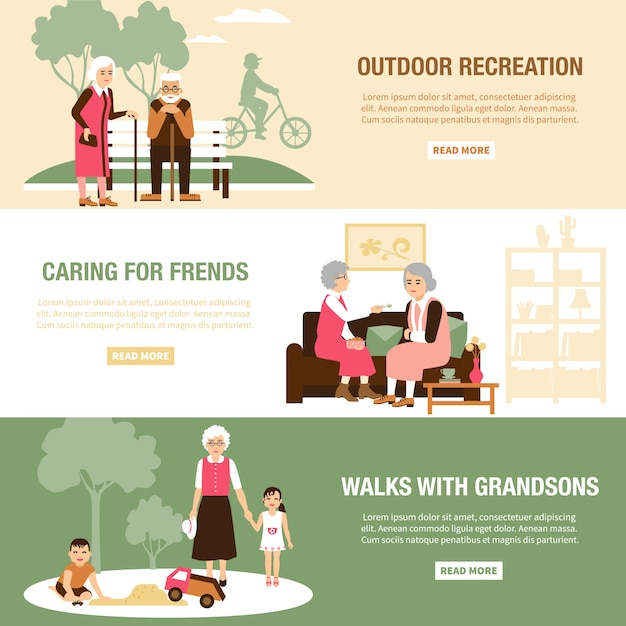 Old people banner templates Free Vector