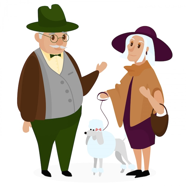 Old people couple with a dog poodle. happy grandparents together isolated. grandpa and grandma. senior elderly couple. cartoon vector illustration. Premium Vector