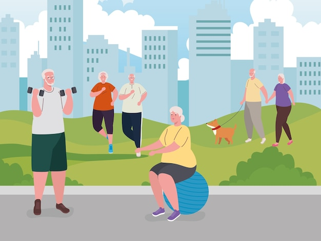 Старые люди занимаются активным отдыхом на свежем воздухе, занимаются физическими упражнениями и гуляют с собакой-талисманом Premium векторы