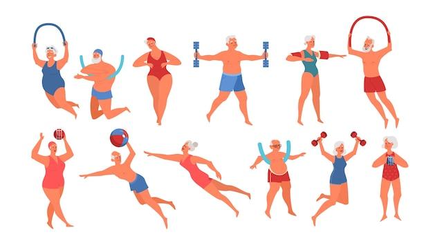 수영장 장비로 운동을하는 노인. 노인 캐릭터는 활동적인 삶을 살고 있습니다. 물에서 수석. 프리미엄 벡터