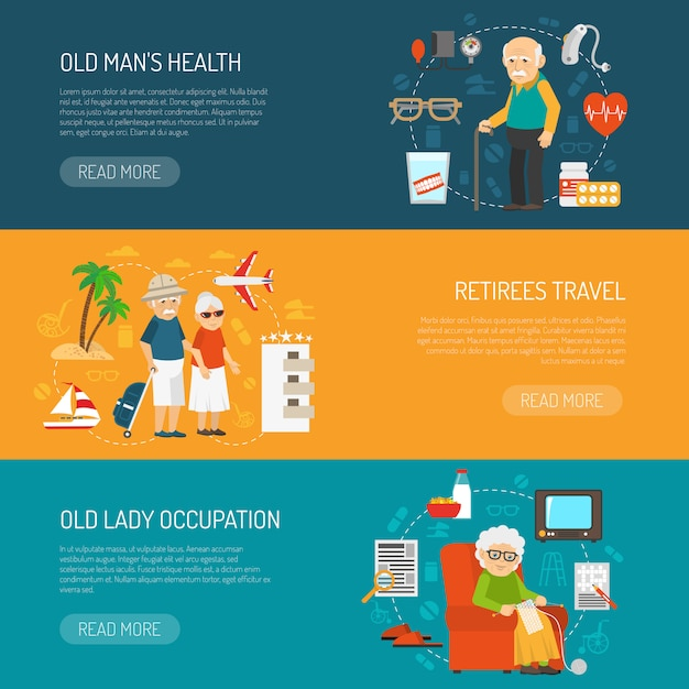 Old  people flat horizontal banners set Free Vector