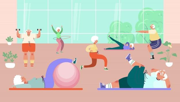 체육관, 그림에서 연습을하는 노인 그룹. 수석 남자 여자 캐릭터, 스포츠 및 피트니스를위한 건강한 활동 프리미엄 벡터