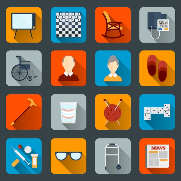 Old people icons collection