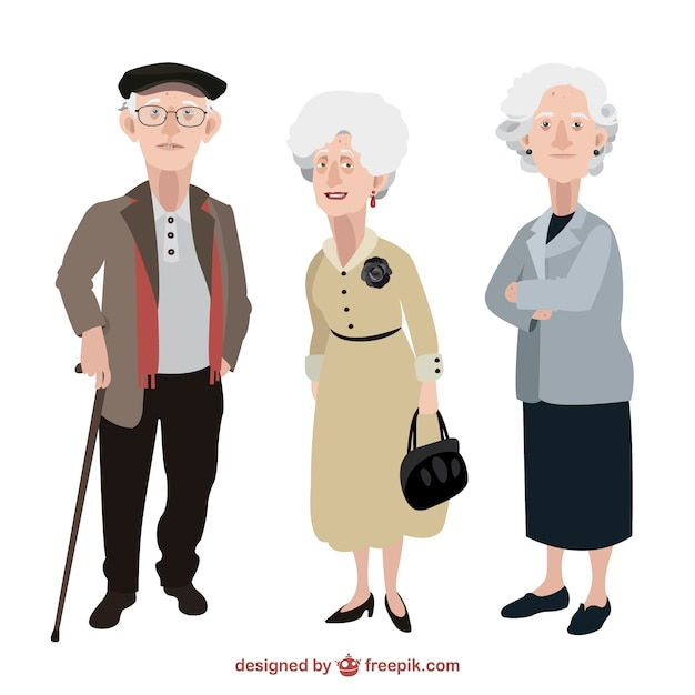 Old People Illustration Vector Free Download
