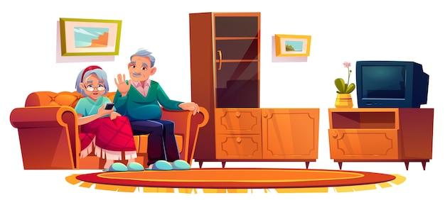 特別養護老人ホームの部屋の老人。高齢者の女性が携帯電話で呼び出す 無料ベクター