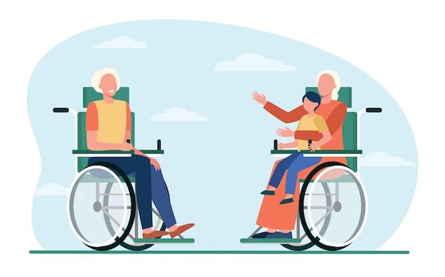 車椅子の老人が子供を抱いて話している。退職、子供、祖父母フラットベクトルイラスト。生成とコミュニケーション 無料ベクター