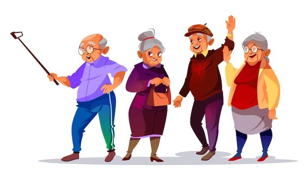 Old people making photo selfie illustration.\ Cartoon elderly man and woman smiling