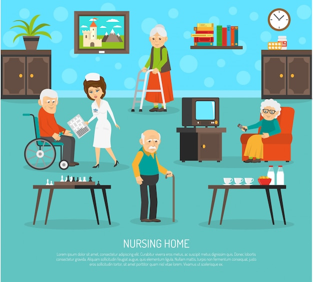Old people nursing home flat poster Free Vector
