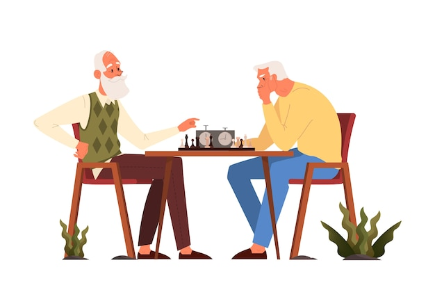 Old people play ches. elderly peope sitting at the table with chessboard. chess tournament between two old men. Premium Vector