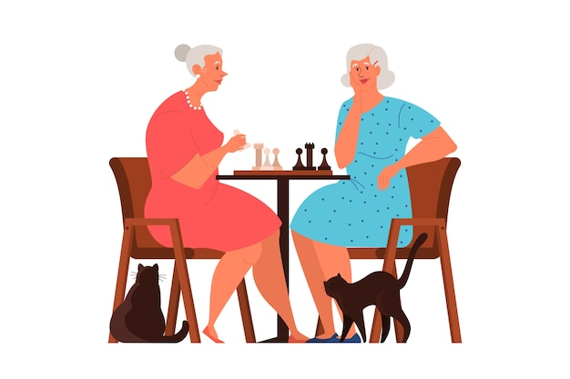 Old people play ches. elderly peope sitting at the table with chessboard. chess tournament between two old women. Premium Vector