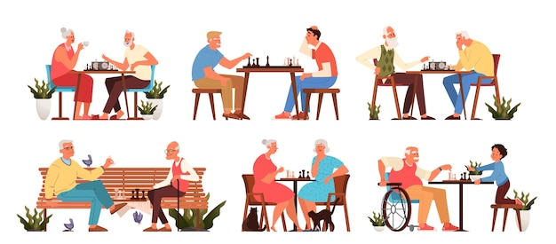 Old people play chess set. elderly peope sitting at the table with chessboard. chess tournament betw