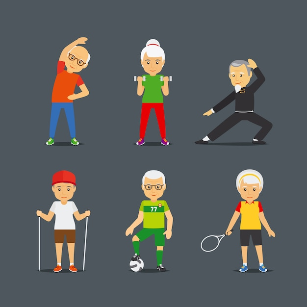 Old people sport lifestyle icons Premium Vector