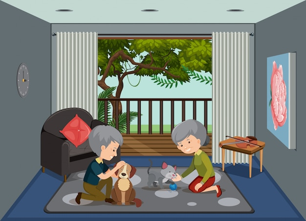 Old people staying at home Premium Vector