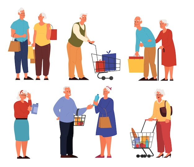 Old people in supermarket with carts byuing fruits, vegetables and other food. grandmother and grandfather at grocery store. Premium Vector