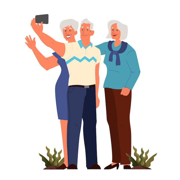 Old people taking selfie together. elderly characters taking photo of themselves. old people lifestyle concept. seniors having an active social life. Premium Vector
