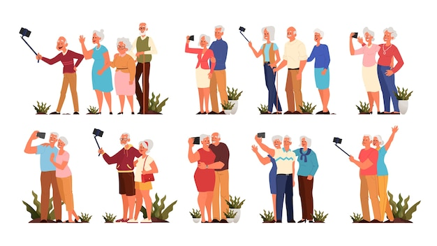 Old people taking selfie together set. elderly characters taking photo of themselves. old people life concept. seniors having an active social life.    style Premium Vector