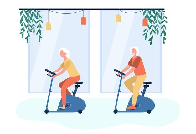 ジムでエアロバイクのトレーニングをしている高齢者。漫画イラスト 無料ベクター