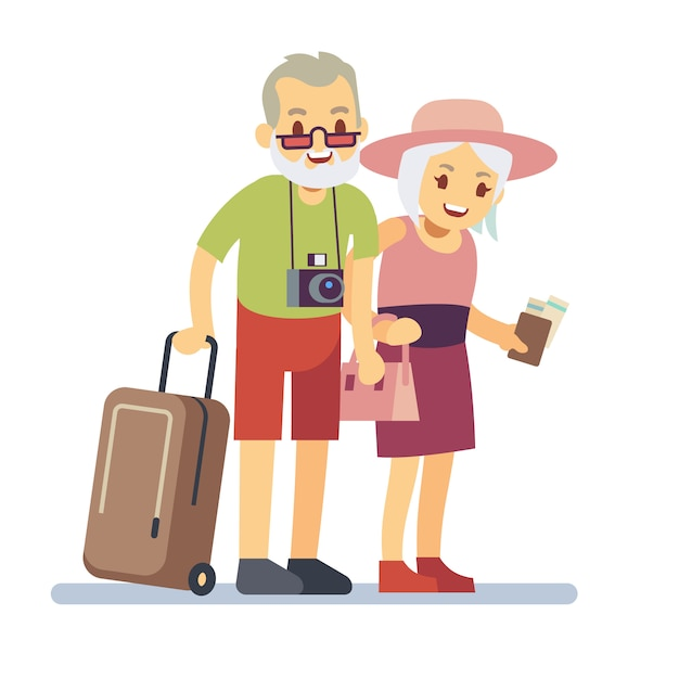 Old people travelers on holiday. smiling grandparents on vacation. happy elderly veteran traveling vector concept. old travel man and woman, grandparents with luggage to vacation illustration Premium Vector