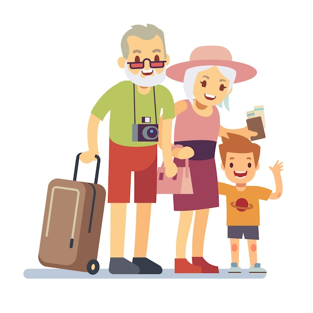 Old people with grandson travelers on holiday. smiling grandparents on vacation. happy elderly veteran traveling vector concept. people grandparent with grandson illustration Premium Vector