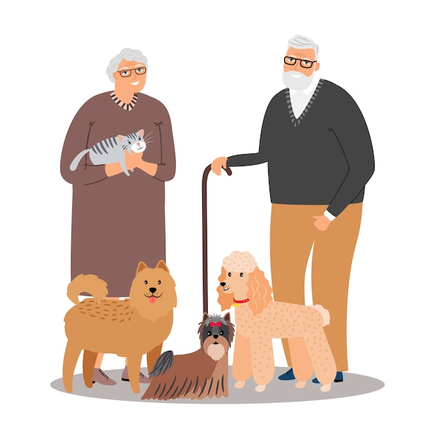 Old pet lovers couple with animals Premium Vector