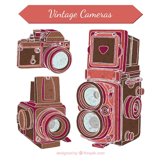 Old photo cameras sketches