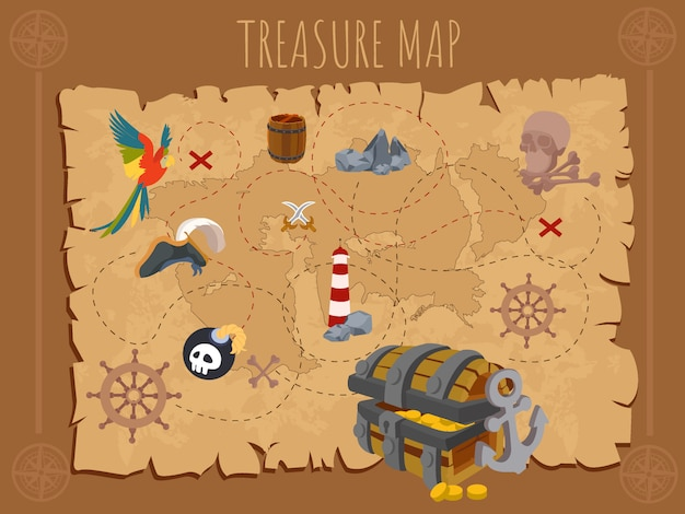 Old pirate map on ancient paper Premium Vector