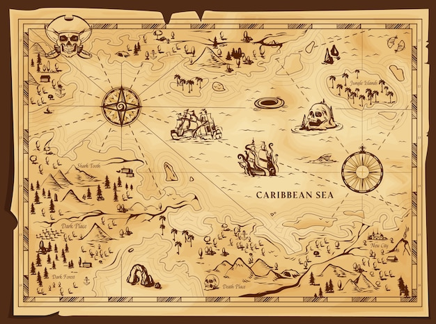 Old pirate map, worn parchment Premium Vector
