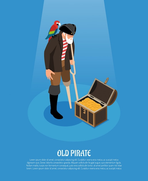 Old pirate with wooden leg and parrot near treasure chest isometric composition on blue Free Vector