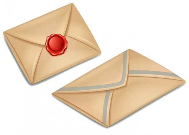 Old post paper envelope sealed with red wax seal Premium Vector