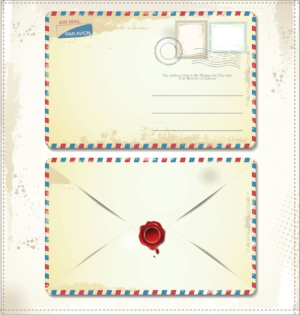 Old postage envelope with stamps and wax seal Premium Vector