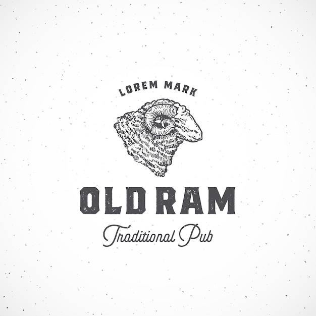 Vecchio segno astratto di ram pub, simbolo o modello di logo. Vettore gratuito