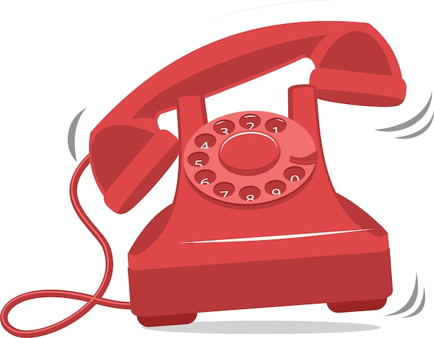 Old red vintage phone ringing Premium Vector