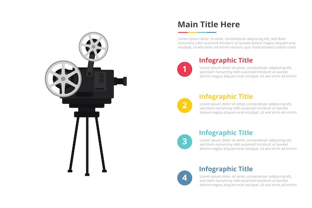 Old retro film recorder infographics template with four points Premium Vector