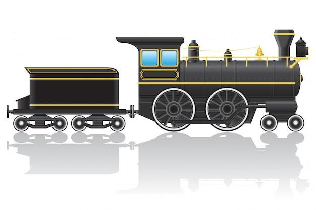 Old retro locomotive vector illustration Premium Vector