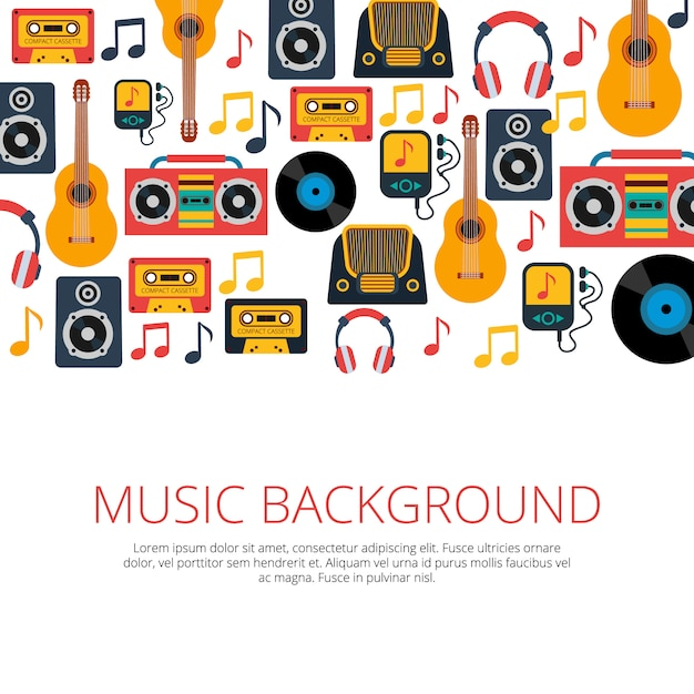 Old retro music vinyl records cd cassette players and notes symbols Free Vector
