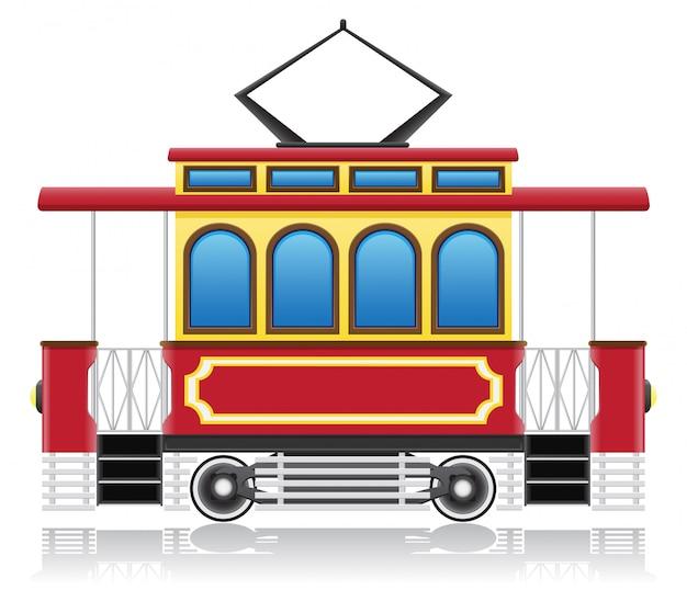 Old retro tram vector illustration Premium Vector