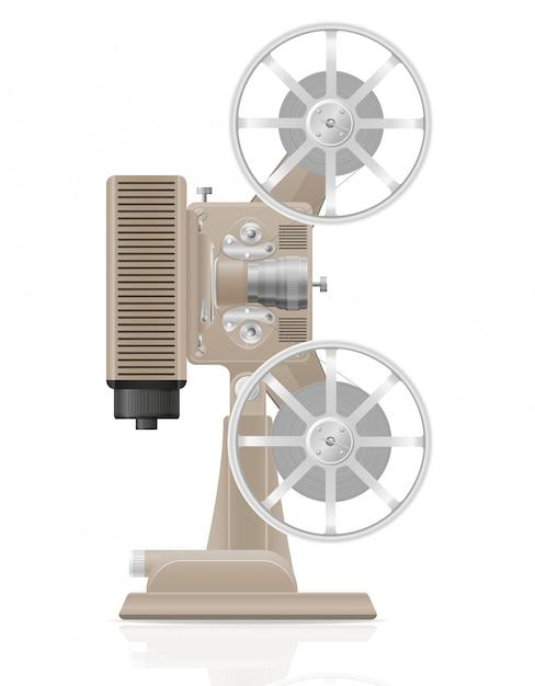 Old retro vintage movie film projector vector illustration Premium Vector