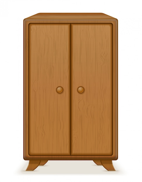 Old retro wooden furniture wardrobe vector illustration Premium Vector