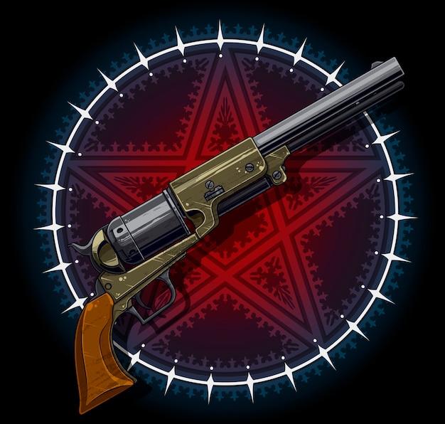 Old revolver with red pentagram star Premium Vector