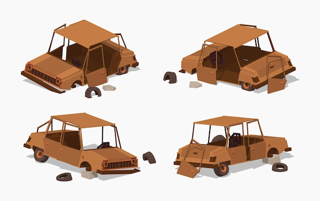 Old rusty 3d lowpoly isometric car Premium Vector