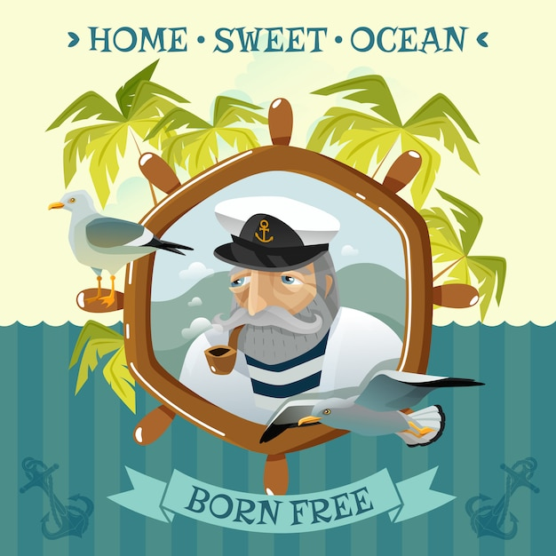 Old sailor with smoking pipe helm and seagulls Free Vector