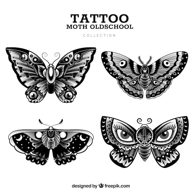 57aa1477a2a9f Old school butterfly tattoo collection Vector | Free Download