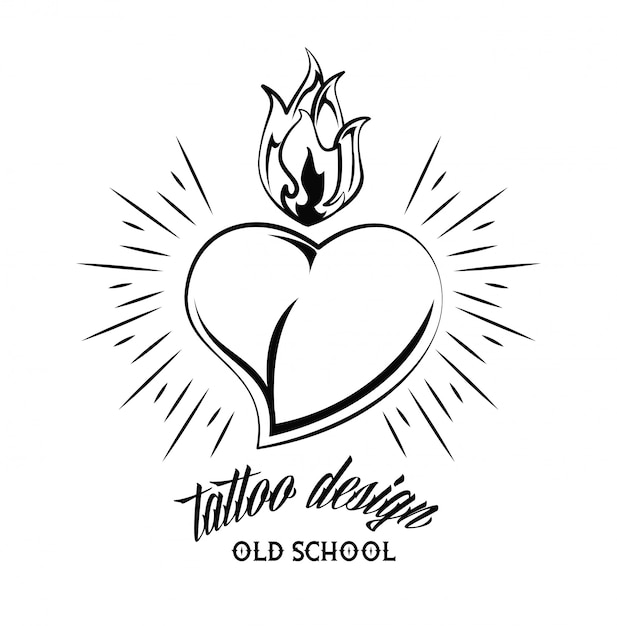 Old school heart with flamme tattoo drawing design Premium Vector
