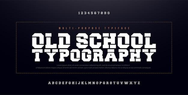 Old school modern bold алфавитный шрифт. сгущенный Premium векторы