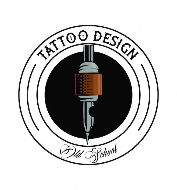Old school tattoo machine drawing design Vector | Premium Download