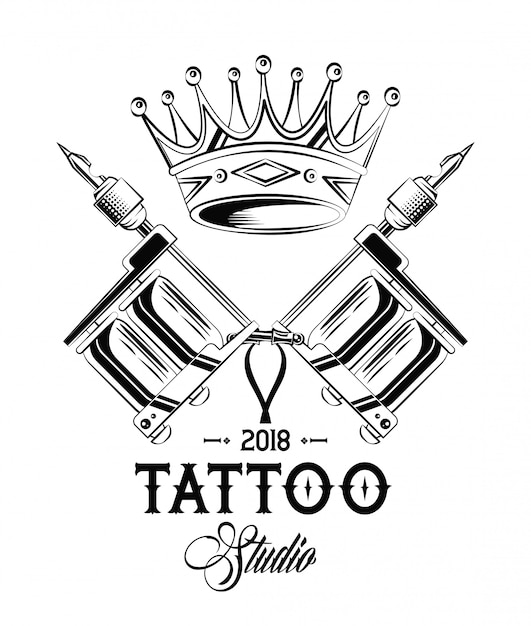 Old school tattoo machines and crown drawing design Vector | Premium ...