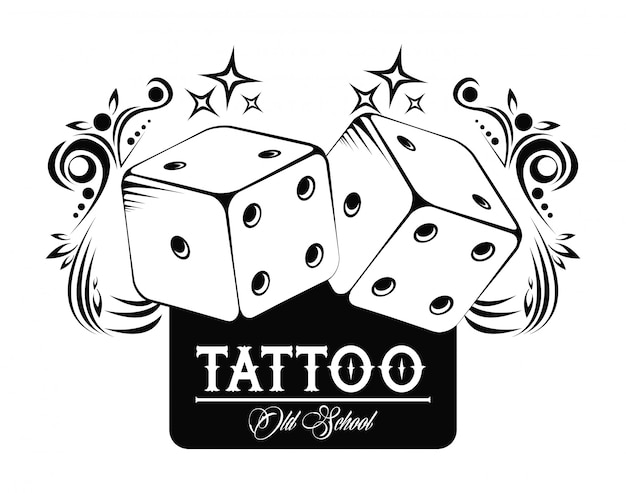 Old school tattoo with dices drawing design Premium Vector