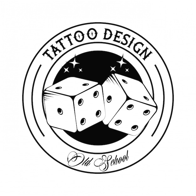 Old School Tattoo With Dices Drawing Design Vector
