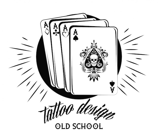 Old School Tattoo With Poker Cards Drawing Design Vector Premium