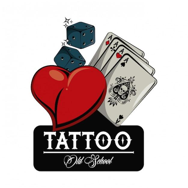 B/&W Ace Playing Cards With Tattoo Gun Tattooist Motif Vinyl Car Sticker Decal